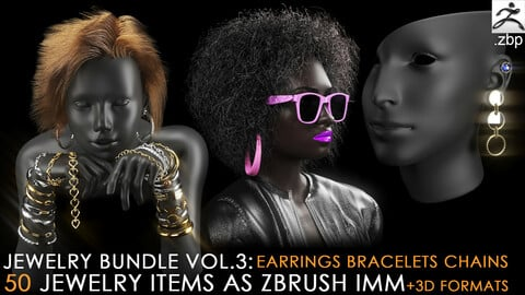 jewelry imm brush vol.3 + 3d print format (earring, bracelet, chain)
