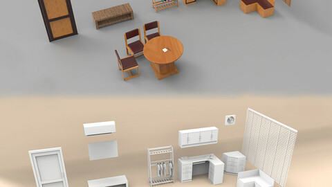 Office cabin interior 3d model low-poly