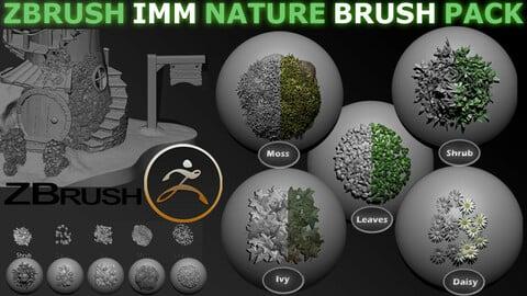 Zbrush Imm Nature Brush Pack Ivy Moss Leaves Shrub & Flowers