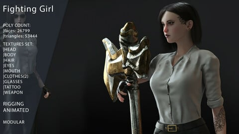 Fighting Girl with Battle Axe Game Ready 3D Model