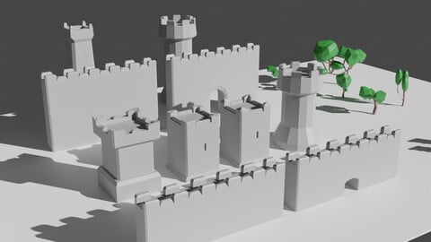 Low Poly Modular Castle Asset for Free