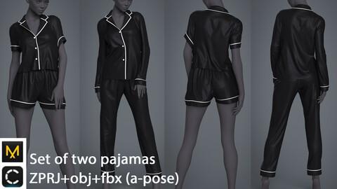 Set of two pajamas / clo3d / marvelous designer