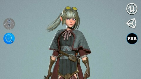 Dwarf Shooter Girl - Game Ready