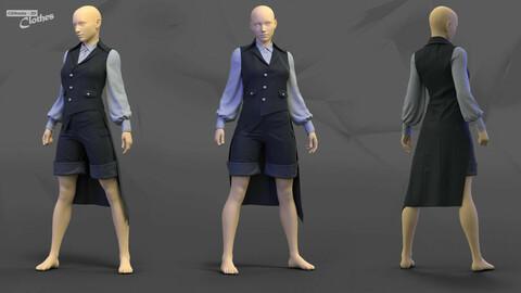 Female Casual Uniform 02 - 77 Marvelous Designer and Clo3D