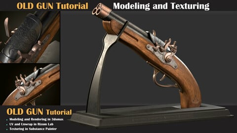 OLD GUN Tutorial ( Modeling, Texturing, Lighting )