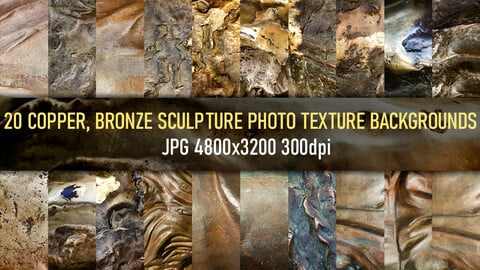 20 Copper, bronze metal statue and surface texture reference photo backgrounds.