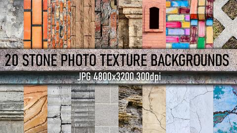 20 Stone tile, brick walls, cracks and architecture elements photo texture backgrounds.