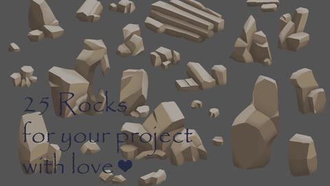 25 Rocks (2D sprites)