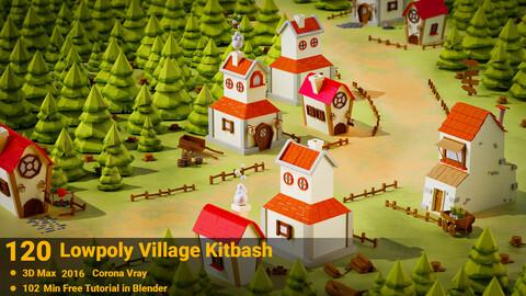 120 Lowpoly Village Kitbash + 102 Min  Tutorial _ VOL 01