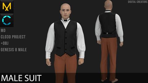 Male Suit Marvelous Designer / Clo 3D project +obj