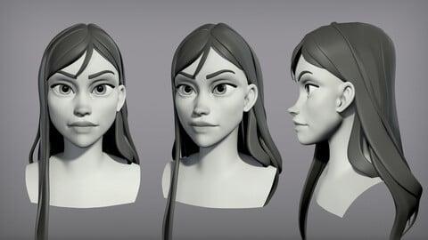 Cartoon female character Kelly base mesh