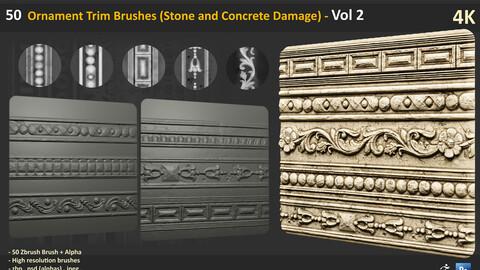 50 Ornament Trim Brushes (Stone and Concrete Damage) - Vol 2
