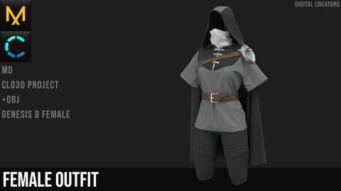 Female Assasin's outfit, Marvelous Designer