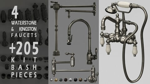 4 Waterstone and Kingston faucets +205 KitBash Pieces_Vol 02