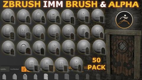 Massive 50 X Zbrush Medieval Door IMM + Alpha Brushes