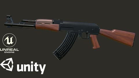 AK-47 PBR low poly 3d model