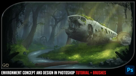 Environment Concept And Design In Photoshop Tutorial + Brushes