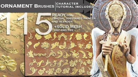 115 Ornament Brushes + Character Tutorial + How to use in Zbrush/Blender/SP - PLUS OBJ/FBX