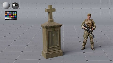 Graveyard Tombstone - high quality, render ready - 4K PBR textures