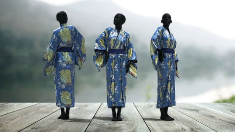 Chinese Kimono . Clo3D + MD + C4D .