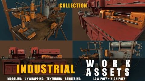 industrial work assets game ready low poly and high poly  collection