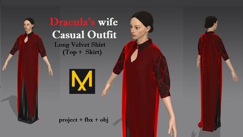 Dracula's wife Casual Outfit  Long Velvet Shirt (Top + Skirt) Marvelous Designer Halloween
