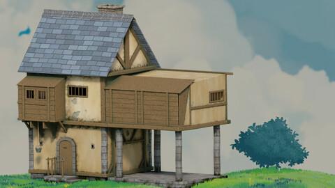 fantasy Stylized Medieval House b9