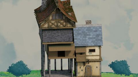 fantasy Stylized Medieval House b11