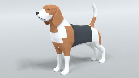 Low Poly Cartoon Beagle Dog