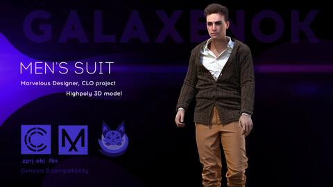 Men's suit. Avatar genesis 8 Male. Marvelous Designer, Clo3d project .OBJ.FBX files