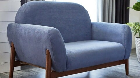 Tea tree solid wood aqua suede 2 seat sofa