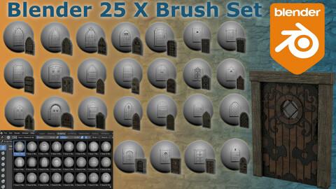 Blender Brush Pack Medieval Doors 50 X Brushes & Alphas