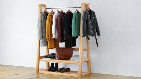 Realistic 3D model of clothes on Rack collection .