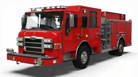 Firetruck Pierce Pumper Velocity chasis lowpoly Low-poly 3D model