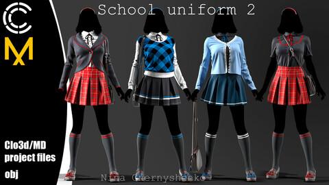 School uniform 2. Marvelous Designer/Clo3d project + OBJ.