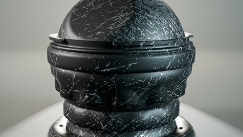 PBR - SCRATCHED BLACK PAINTED METAL SURFACE - 4K MATERIAL