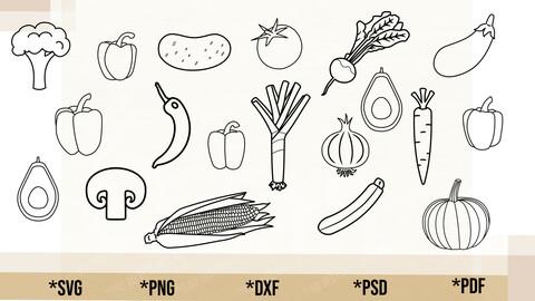 Vegetable Outline Bundle SVG, Vegetable Bundle Cricut Cut File, Vegetable Bundle PNG Printable, pdf, dxf, Vegetable Bundle Digital Download
