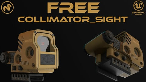 Collimator sight | FREE props, body kit for Game Asset | PBR