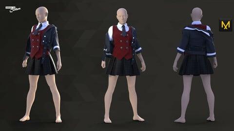 Girl School Uniform with Jacket - 80 Marvelous Designer and Clo3D
