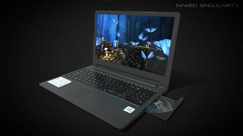 Laptop with optical drive | Computer low poly