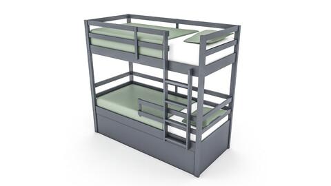 3D modern wooden bunk bed