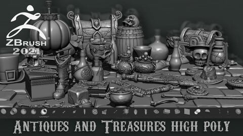 Antiques and Treasures high poly Zbrush 2021.7.1