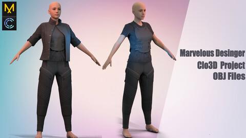 Mercenary outfit / Marvelous Desinger/Clo3D Project+OBJ File + FBX