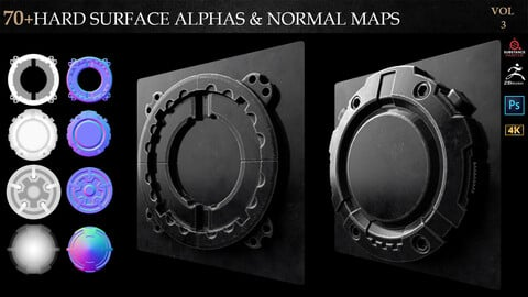 70+HARD SURFACE ALPHAS & NORMAL MAPS-VOL 3