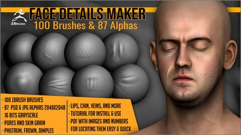 Face Details Maker 100 ZBrush Brushes And 87 Alphas