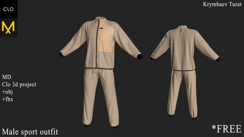 Male Sport Outfit. Clo 3D / Marvelous Designer project +obj +fbx