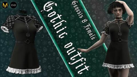 Clo3d/Marvelous designer Female Gothic outfit. Zprj/Obj/Pose