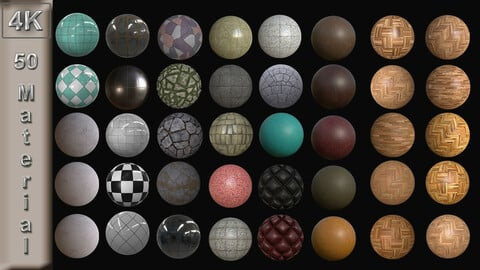 4K - 50 Material - PBR TEXTURE (Stone,Tile, Wood, Marble,Granite,Leather,Fabric,Metal,Concrete)