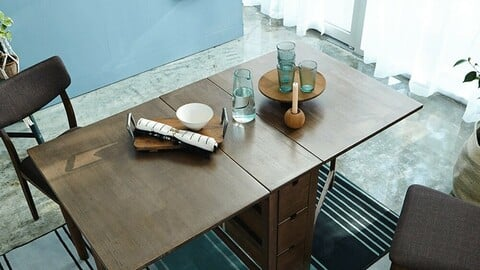 Wings Expandable Folding Wood Dining Table