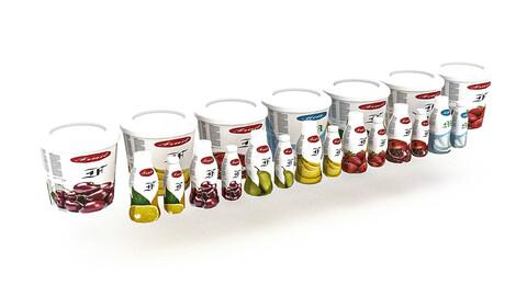 3D yoghurt fruit yoghurt varieties model